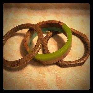 3 Vintage Wood Bangle Bracelets